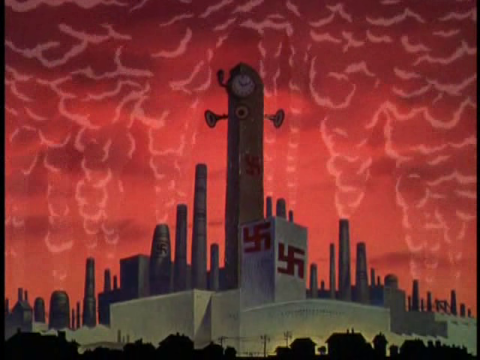 A factory with swastikas in the Donald Duck film Der Fuehrer's Face (1943)