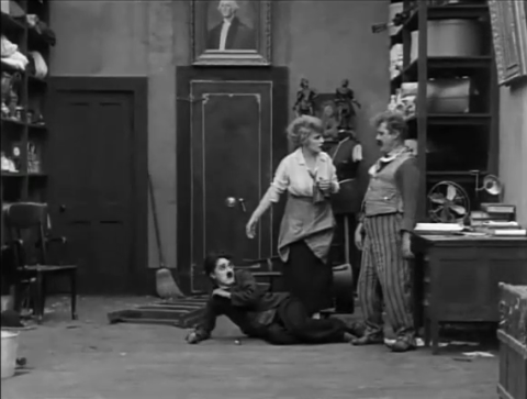 Charles Chaplin, Edna Purviance and John Rand in The Pawnshop (1916)